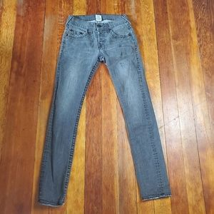 True Religion Skinny Jeans Black Gray Size 29